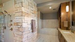 bathroom awesome bathroom remodel ideas with unique stone wall design using white and light brown awesome white brown wood unique design cool