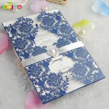 Us 13 2 Top Sell Elegant Royal Blue Flower Lace Marriage Engagement Wedding Invitation Card Intricate Laser Cut Wedding Invitations 2017 In Cards