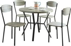 casual dining room blake gray 5 piece round dining table chairs set