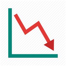 Down Arrow Chart Infographics Flat Colorful By Iconbaandar Team