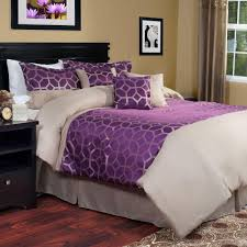 lavish home aria 7 piece purple queen comforter set