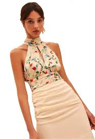 C Meo Collective Size Chart C Meo Collective Sectional Crop Top In Apricot Floral