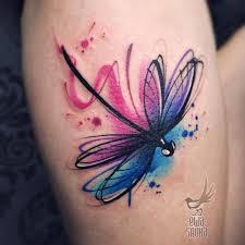 Watercolour Tattoo With Dragonfly And Leg Tattoo