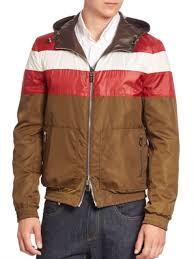 bally reversible leather jacket safari attached hood with drawstring adi 61858
