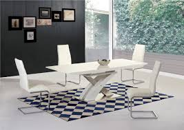 white high gloss  glass extending dining table   chairs