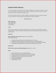 curicculum vitae resume examples waitress best of examples resumes sample