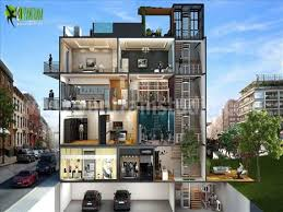 house basement parking design. Contemporary House Cut Section Floor Plan For Multi Family House With 4 Story Building Basement  Parking And Terrace Garden Render Contains Concept Of Exterior Interior  Intended House Design D