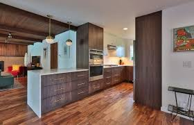 dark wood cabinetry in a kitchen with long drawer pulls