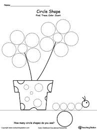 Find Trace Color Count Shapes Circle kindergarten drawing printable worksheets myteachingstation com on complete subject worksheets