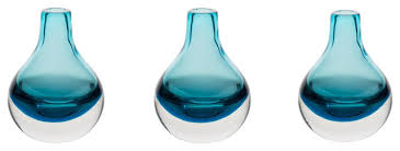 home decor accent vase hand blown art solid color glass bud vase blue set