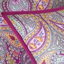 twin xl full queen bed purple pink gray blue paisley 4 pc comforter set bedding