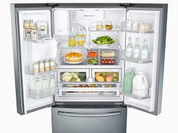 open refrigerator door. 3-door french door refrigerator with coolselect pantry™ open
