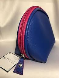 image is loading new macys cosmetic makeup bag blue pink faux