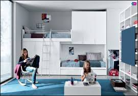 bedroom design for teenagers with bunk beds. Lovely Teenage Girl Bedroom Decoration Design Ideas : Contemporary Blue With White For Teenagers Bunk Beds F