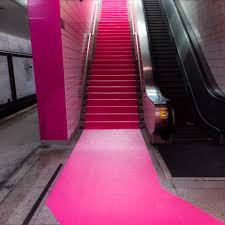 hot pink aisle runner event carpet for carefree canada campaign at ttc station