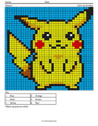 003 Pokemon Pikachu Mega Pixel Megapixel Coloring Page Coloring