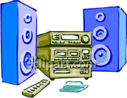 sound system clipart. stereo system with speakers - royalty free clipart picture sound