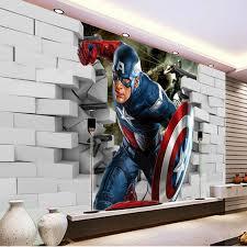 3D Captain America Wallpaper Avengers Photo Wallpaper Cool Wall Mural Boys  Kids Room Decor Club Bedroom