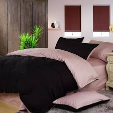 pale pink and black solid pure color simply shabby chic luxury full queen size bedding sets