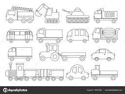 Libro Da Colorare Set Di Trasporto Auto Autobus Treno Camion