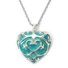 adina plastelina silver heart necklace turquoise