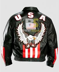 american flag black eagle leather motorcycle jacket