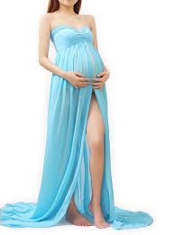 Maxi Maternity Gown Dress Front Chiffon Split Photography Boob Tube SIPSrfqw