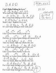 Cant Help Falling In Love Elvis Guitar Chord Chart In D Real Key