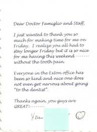 Patient Thank You Notes Exton Pa Dr Peter M Famiglio