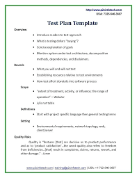 Simple Test Plan Template Sample Test Plan Doc Simple