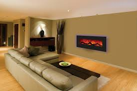 fireplace modern wall mount electric with big sofa long table fur rug wooden cabinet and stylish