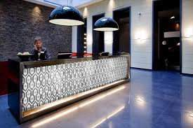 stunning ideas for beauty salon reception desk with modern wall tiles