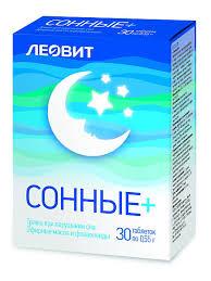 ЛЕОВИТ <b>Сонные</b>+. <b>30</b> таблеток по 0,55 г. Упаковка 16,5 г (СГР и ...
