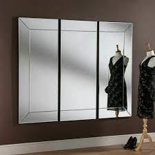 all glass modern 3 panel wall mirror
