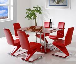 Dining Chairs, Excellent Red Rectangle Unique Plastic Red Dining Room Chairs  Varnished Design With Table ...