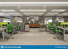 Modern Computer Office Open Space Interior With World Map