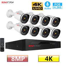 SIMICA 8CH 4K Ultra Siêu Nhỏ FHD POE Mạng IP Camera An Ninh Camera Quan Sát  Bộ 8MP H.265 NVR Với 8X8MP Chống Chịu Thời Tiết Video hệ Thống Giám Sát