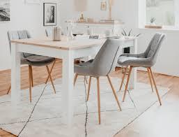 Tischgruppe Esstisch Oslo Weiß Artisan Eiche 4x Stuhl Tjark Grau