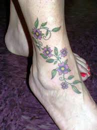 flower vine female tattoos on foot