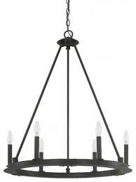 pearson 6 light chandeliers black iron