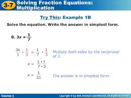 3 7 solving fraction equations multiplication try this example 1b