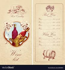 Free Wine List Template Wine List Template Royalty Free Vector Image VectorStock 2