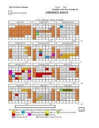 School Calendar 2015 16 Printable 2014 15 Amended Calendar Approved By Board Of Education On