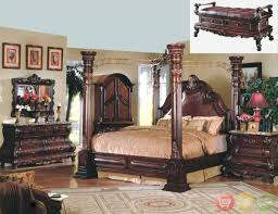 King Size Bedroom Suit Traditional Solid Oak Wood Curving Twist Canopy Beds King Size