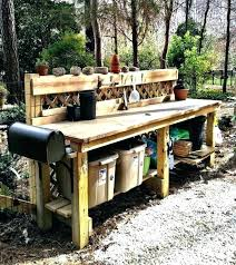 outdoor work table wish garden bench potting benches with storage for 16