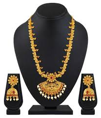 asmitta traditional antique peacock design gold plated long necklace set for women asmitta traditional antique peacock design gold plated long