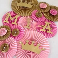 princess theme paper fans set of 13 princess party backdrop princess crown decor