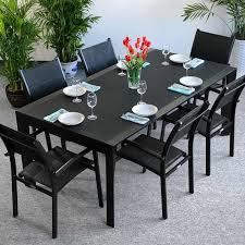 modern large 6 seater metal aluminium glass black extending garden furniture dining table set 6