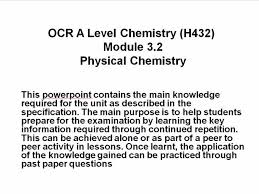ocr a level chemistry h432 module 3 2 physical chemistry powerpoint