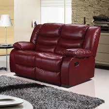 Living Room Furniture Belfast Belfast Cranberry Red Recliner Sofa Collection In Bonded Leather